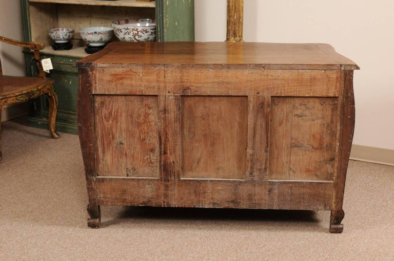 18th Century French Walnut Louis XV Three-Drawer Commode with Linen Fold Front For Sale 4
