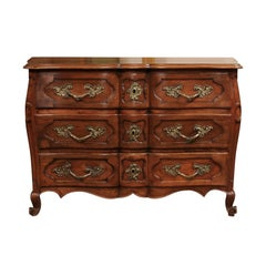 18th Century French Walnut Louis XV Three-Drawer Commode with Linen Fold Front