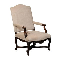 18th Century French Regence Walnut Fauteuil with Cross Stretcher