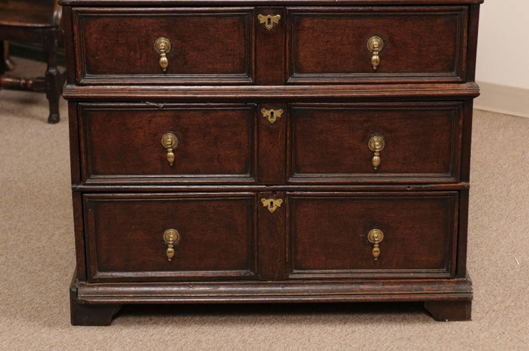 18th Century and Earlier 18th Century English Oak Jacobean Style Chest with Four Drawers and Brass Pulls For Sale