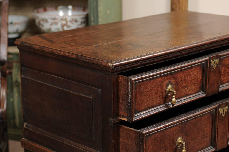18th Century English Oak Jacobean Style Chest with Four Drawers and Brass Pulls For Sale 3