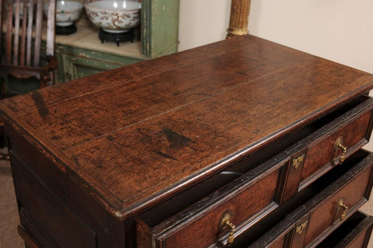 18th Century English Oak Jacobean Style Chest with Four Drawers and Brass Pulls For Sale 4