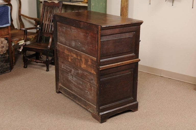 18th Century English Oak Jacobean Style Chest with Four Drawers and Brass Pulls For Sale 5