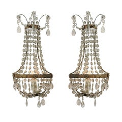 Pair of Crystal Basket Sconces with One-Light, 20th Century, Italy