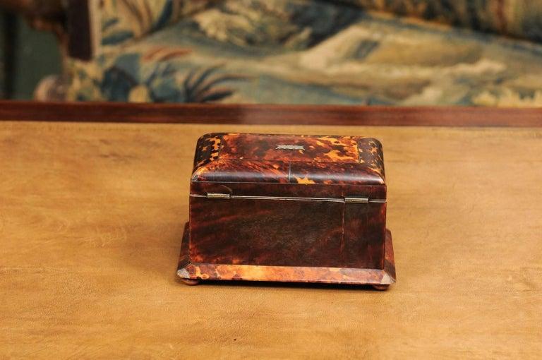 Early 19th Century English Regency Tortoiseshell Tea Caddy with Bun Feet For Sale 4