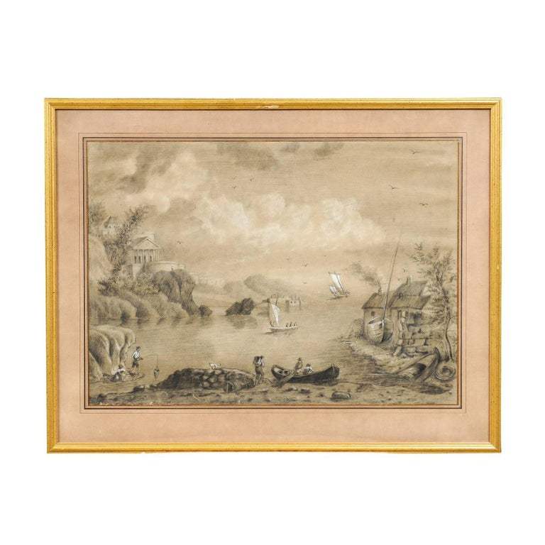 Giltwood Framed 19th Century French Drawing and Watercolor Landscape