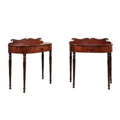 Pair of 19th Century Federal Style Mahogany Demilune Console Tables