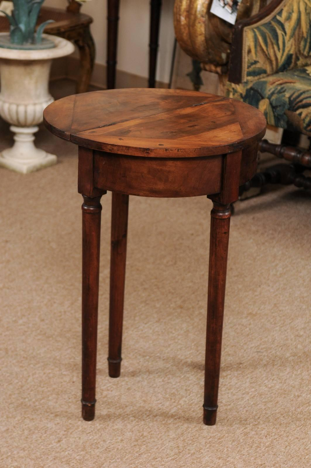 Convertible Demilune Game Table With Flip Top, Italy, Circa 1890 For Sale 1