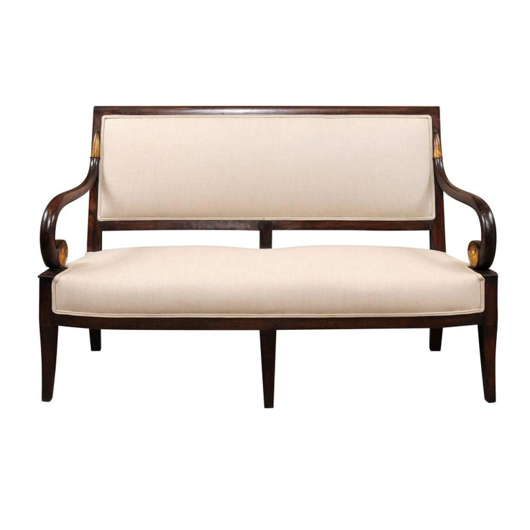 19th Century French Empire Mahogany Settee with Scroll Arms and Gilt Detail