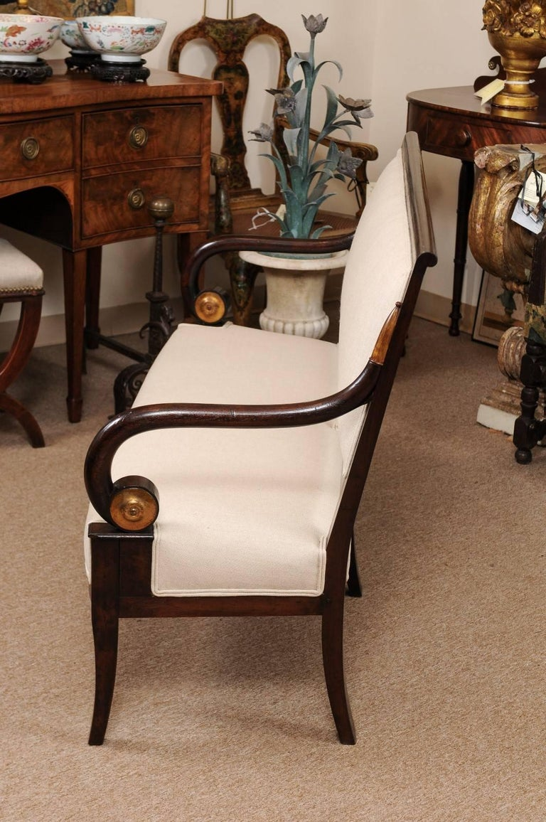 19th Century French Empire Mahogany Settee with Scroll Arms and Gilt Detail For Sale 3