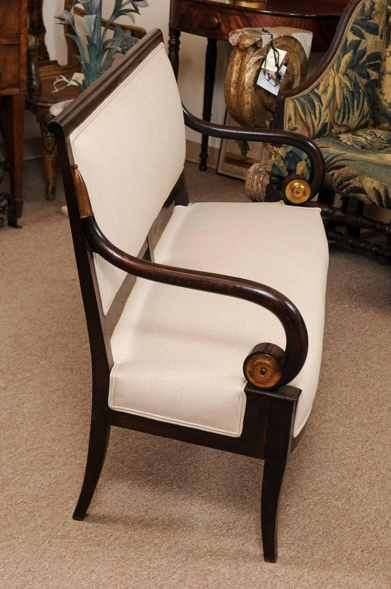 19th Century French Empire Mahogany Settee with Scroll Arms and Gilt Detail For Sale 1