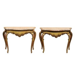 Pair of 19th Century Italian Rococo Style Painted Consoles