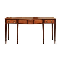 George III English Server in Mahogany and Satinwood with Shell Inlay
