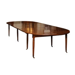 French Directoire Walnut Extending Dining Table, Early 19th Century