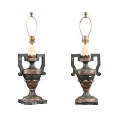 Pair of Late 19th Century Italian Painted Urn Lamps