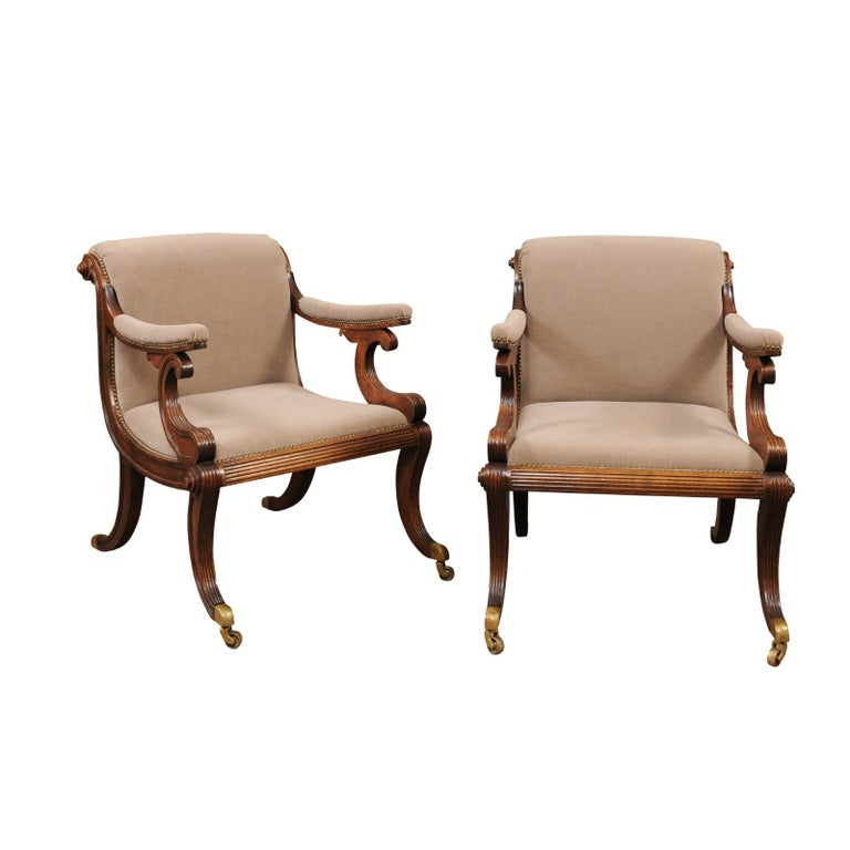 Pair of Regency Style Mahogany Scroll Back Upholstered Armchairs