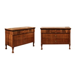 Pair of Austrian Early 19th Century Walnut Commodes with Three Drawers