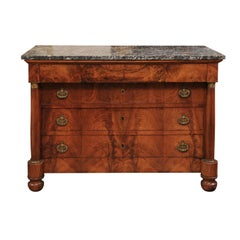 Early 19th Century French Empire Walnut Commode with Grey Marble Top