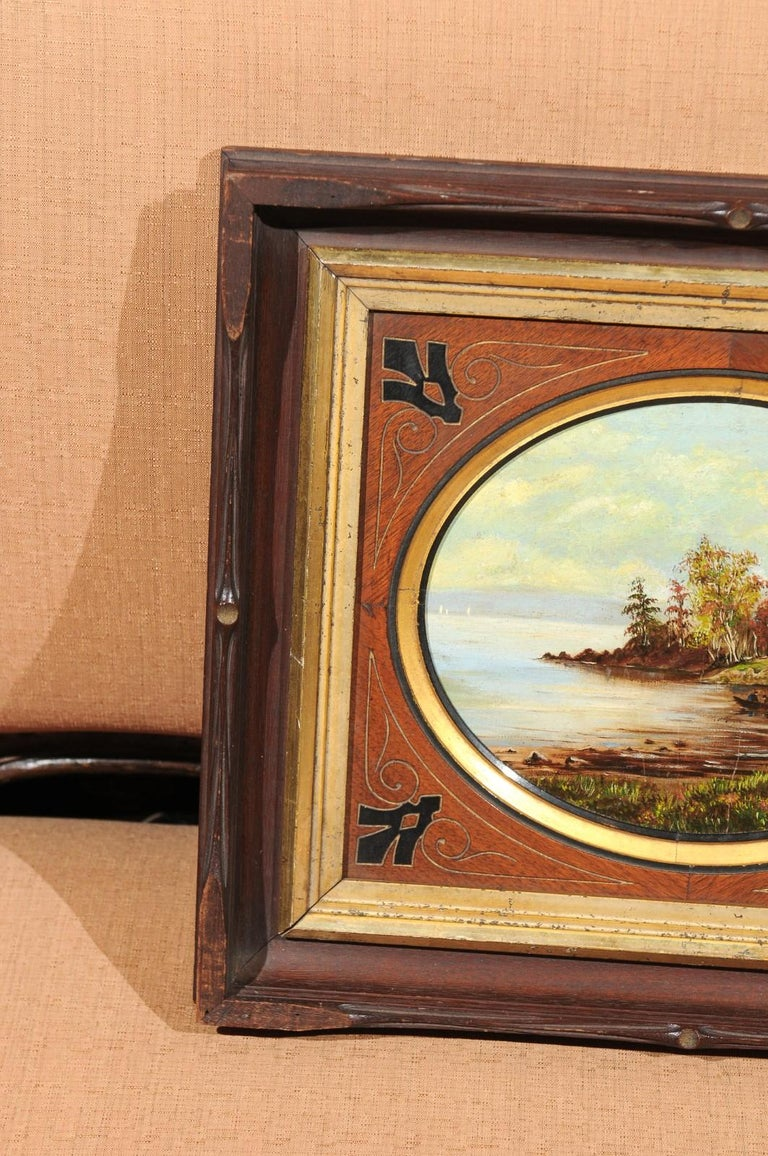 Hand-Painted 19th Century Oval Oil on Canvas Painting of Hudson River & Washington's Tomb For Sale