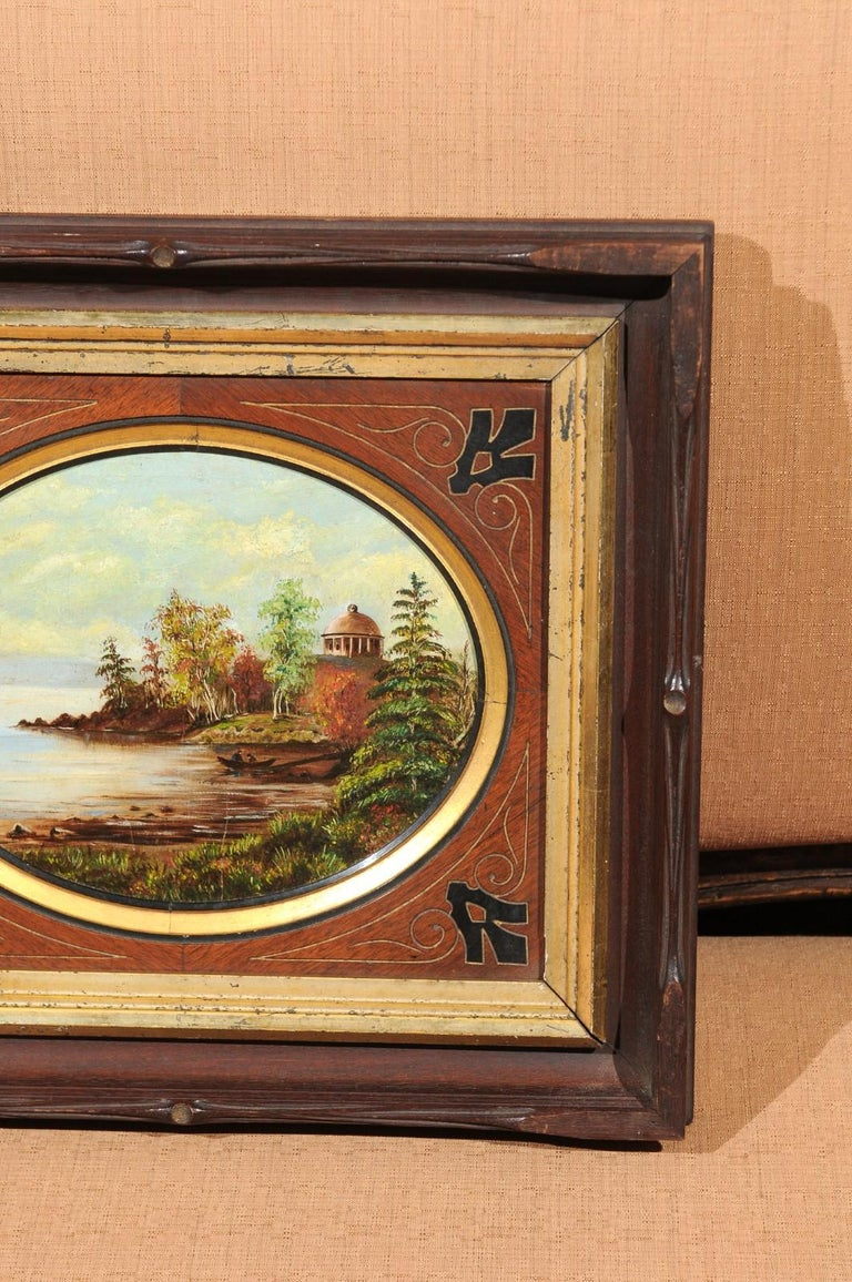 19th Century Oval Oil on Canvas Painting of Hudson River & Washington's Tomb In Good Condition For Sale In Atlanta, GA