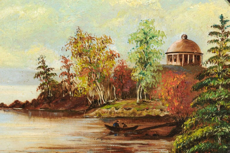 19th Century Oval Oil on Canvas Painting of Hudson River & Washington's Tomb For Sale 2