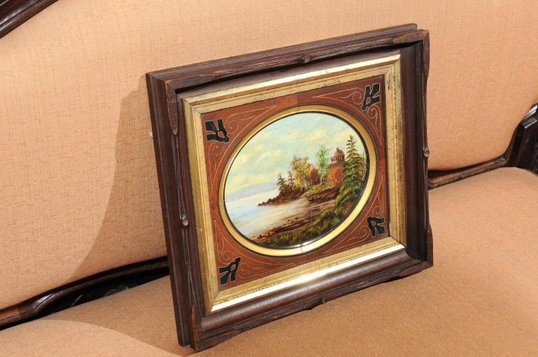 19th Century Oval Oil on Canvas Painting of Hudson River & Washington's Tomb For Sale 3