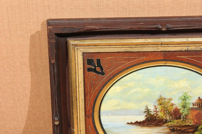 19th Century Oval Oil on Canvas Painting of Hudson River & Washington's Tomb For Sale 5