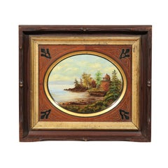 19th Century Oval Oil on Canvas Painting of Hudson River & Washington's Tomb
