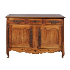 French Louis XV Style Fruitwood Buffet with Marquetry Inlay, circa 1820