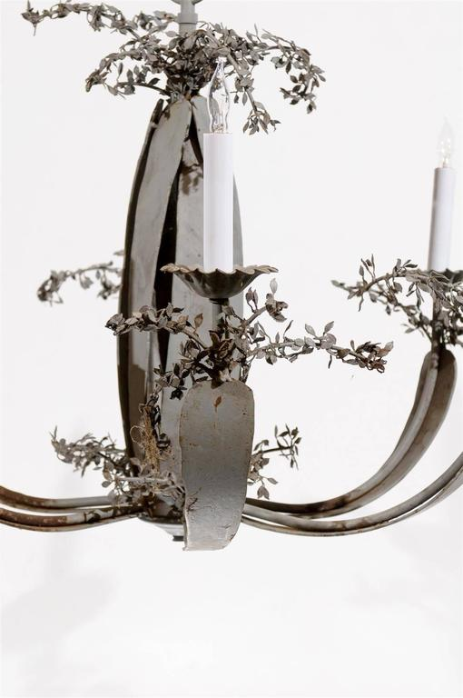 Blue Grey Painted Iron Chandelier with Six Lights and Tole Leaf Detail For Sale 4