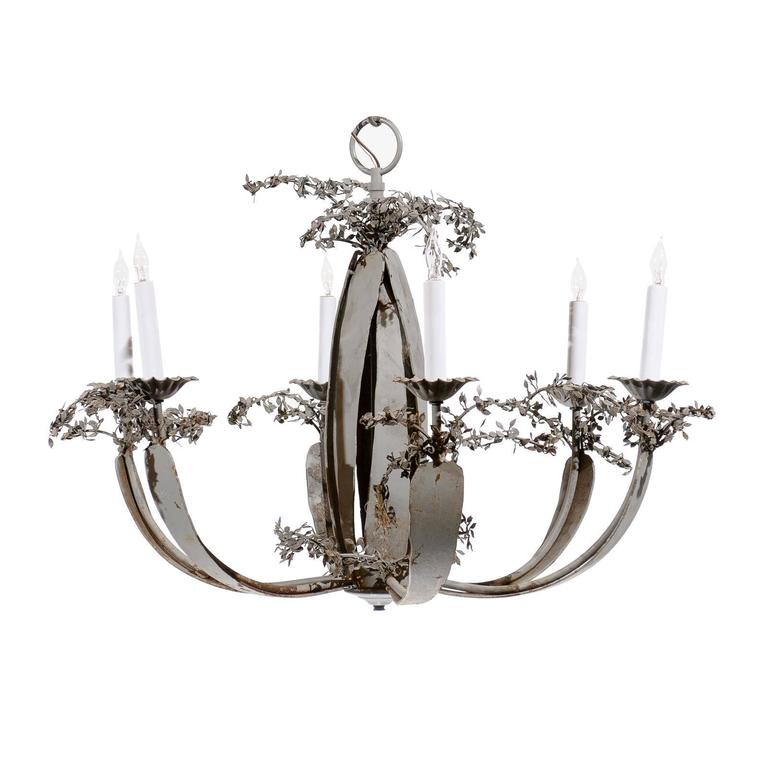 Blue Grey Painted Iron Chandelier with Six Lights and Tole Leaf Detail For Sale