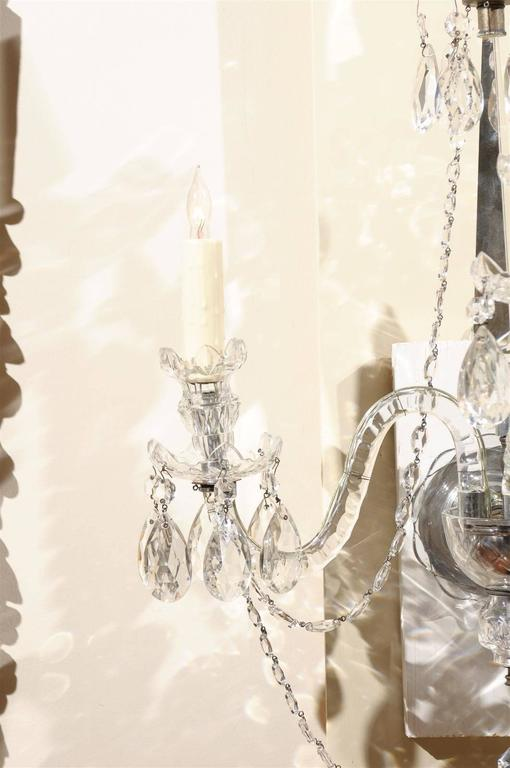 Pair of Cut Crystal Arm Sconces with Three Lights For Sale 1