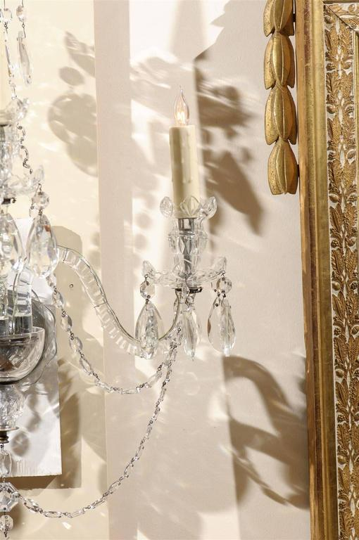 Pair of Cut Crystal Arm Sconces with Three Lights For Sale 2