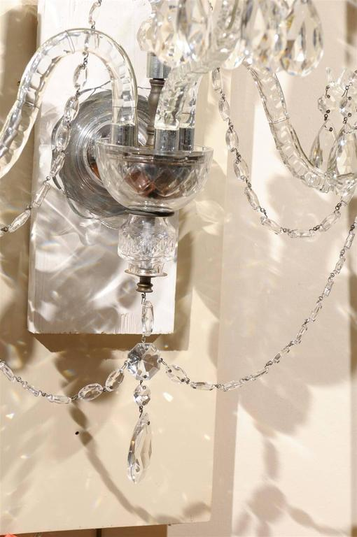 Pair of Cut Crystal Arm Sconces with Three Lights 8