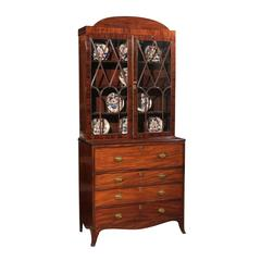 19th Century English Secretary in Mahogany with Domed Top