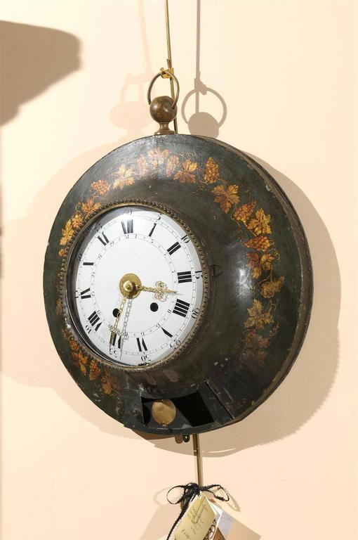 Large 19th Century French Painted Tole Wall Clock with Grapevine Detail In Excellent Condition For Sale In Atlanta, GA
