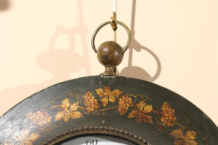 Large 19th Century French Painted Tole Wall Clock with Grapevine Detail For Sale 4