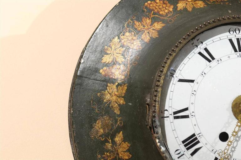 Large 19th Century French Painted Tole Wall Clock with Grapevine Detail For Sale 5