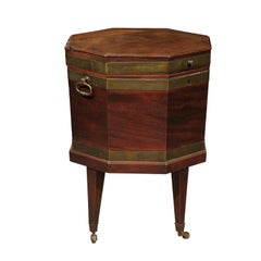 19th Century English Octagonal Mahogany and Brass Cellarette on Stand