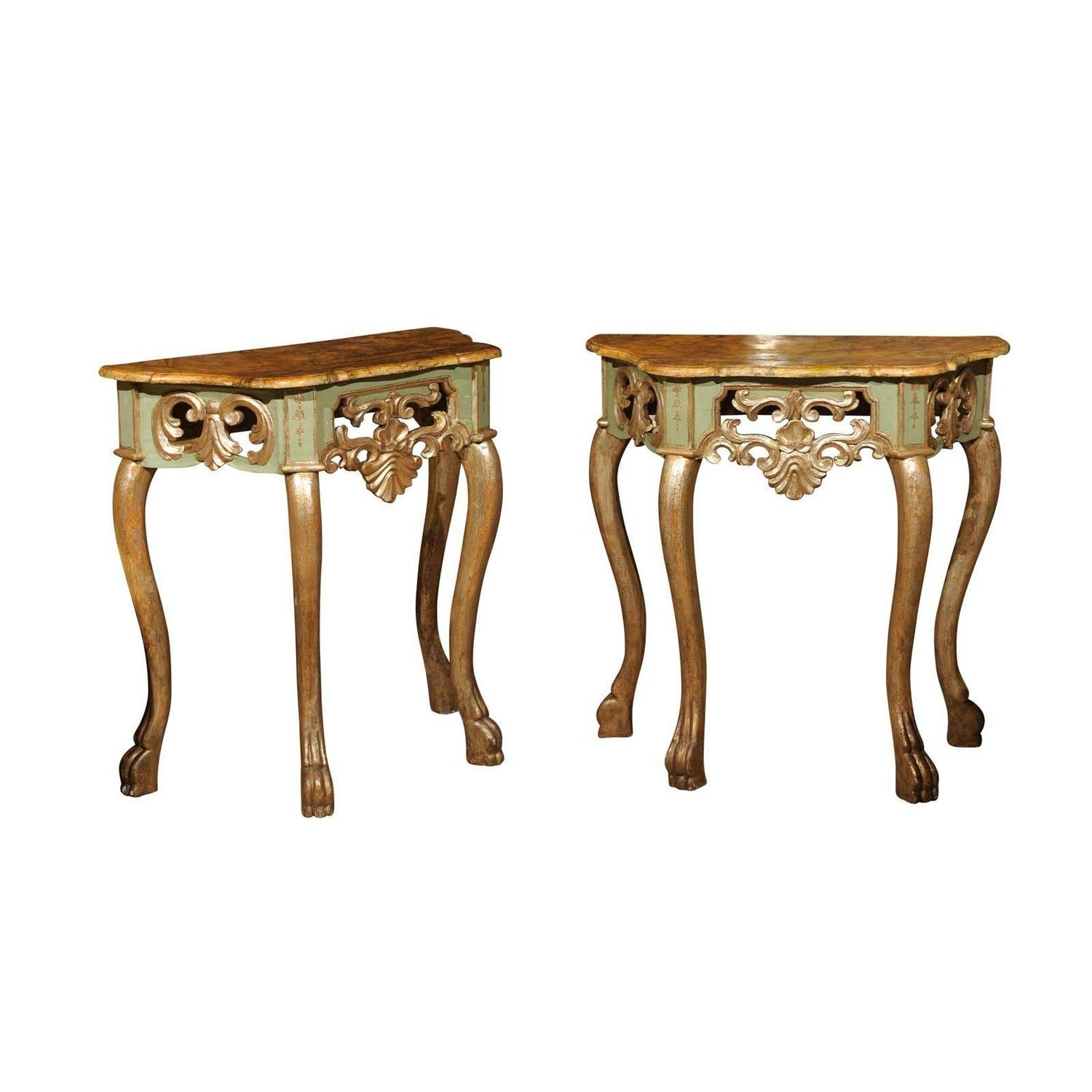 pair of petite painted and polychrome consoles with faux. Black Bedroom Furniture Sets. Home Design Ideas