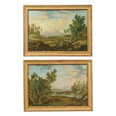 Pair of 18th Century Gilt Framed Oil on Canvas Landscape Paintings