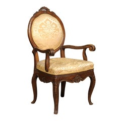Italian 18th Century Walnut Armchair with Scrolled Arms
