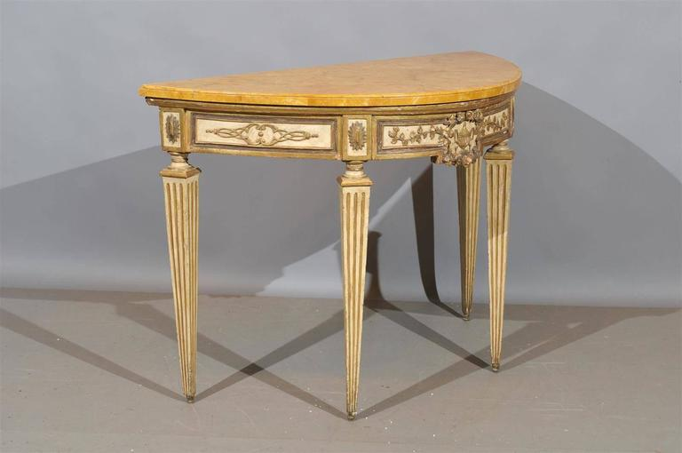 Pair of painted and parcel gilt neoclassical consoles for Table 52 naples