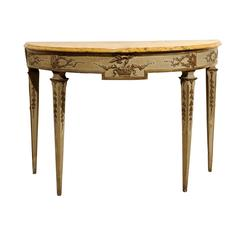 Large 18th Century Italian Neoclassical Painted and Parcel Gilt Console