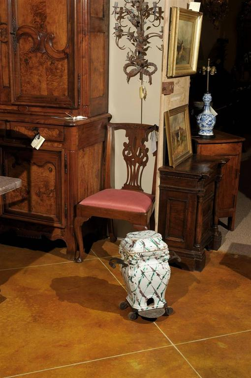 18th Century Italian Faience Brasero Stove With Handles And Wheels