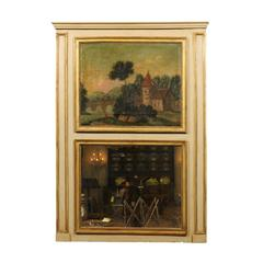 French Painted and Parcel-Gilt Trumeau Mirror with Landscape Painting