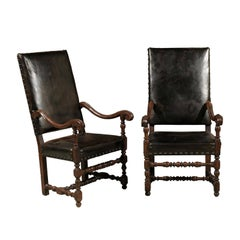 Pair of Large 18th Century Louis XIII Style Walnut Fauteuils