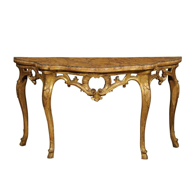 18th Century Rococo Italian Gilt-Wood Console with Faux Marble Top
