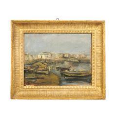Oil on Board Landscape of Granatello - Portici Naples, Signed Luigi Crisconio