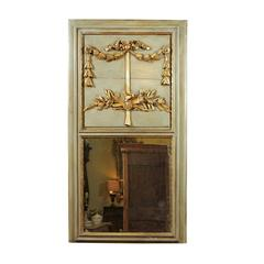 Louis XVI Style Green Painted Trumeau Mirror with Doves and Laurel Leaves